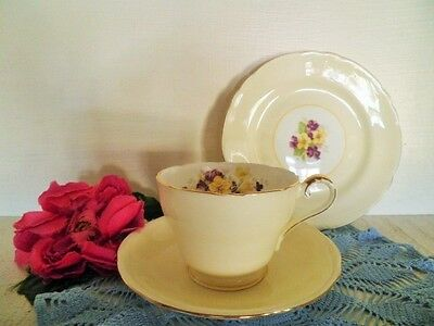 Vintage Trio Aynsley Pansy Viola Cup Saucer Plate England Lemon Yellow Purple