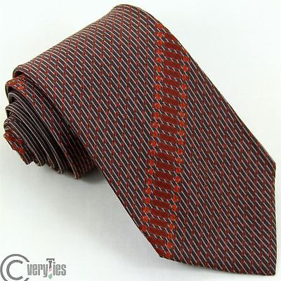 Cravatta JEAN D'ANTONIE VINTAGE 70 Marrone Righe 100% Seta Made in Italy Tie
