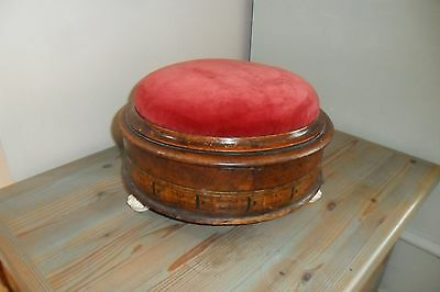Antique VictorianWalnut & Tunbridge Inlaid Circular Footstool 3 Porcelain feet