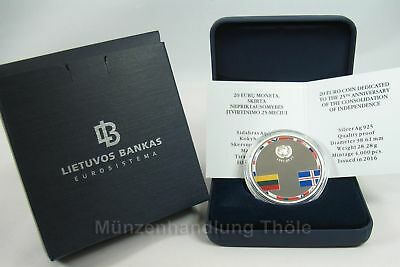 Lithuania 2016: 20 Years Independence Coloured coin Lithuania proof PF