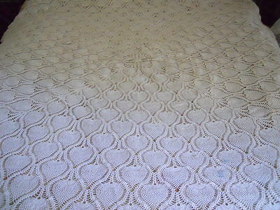 "Vintage Hand Crochet Square Tablecloth Pineapple Motif 74""x74"""