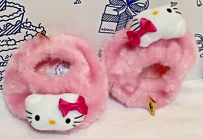 96342ce94 Build A Bear Hello Kitty Cat Slippers White Pink Shoes Furry Plush Sanrio  BABW