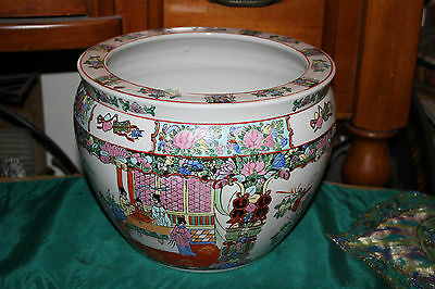 Chinese Famille Rose Pottery Planter Fish Bowl-Painted Scenes Men Women Flowers