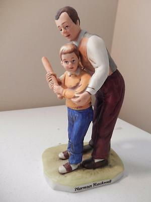 """Norman Rockwell Dad teaching Son Baseball - Select Collection No. 1007 (7"""" Tall)"""