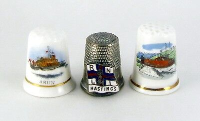 Thimble - Collection Of 3 Rnli Royal National Lifeboat Institution Thimbles