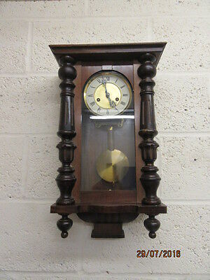 Spring Driven Vienna Regulator Wall Clock In Working Order By HAC Movement C1910