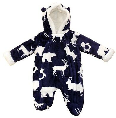 Lily & Jack Adorable Baby Furry Thick Navy Snowsuit Pramsuit Woodlands Animals