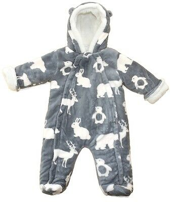 Adorable Grey Furry Thick Snowsuit Pramsuit Woodlands Animals by Lily & Jack