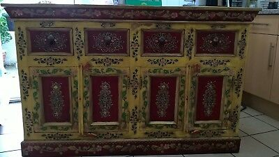 Rare Antique Vintage Beautifully Handpainted Indian Sideboard Dresser Cabinet
