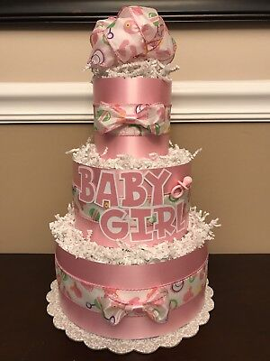 Diaper Cake Pink & White Baby Girl Pampers Baby Shower 3 Tier Centerpiece