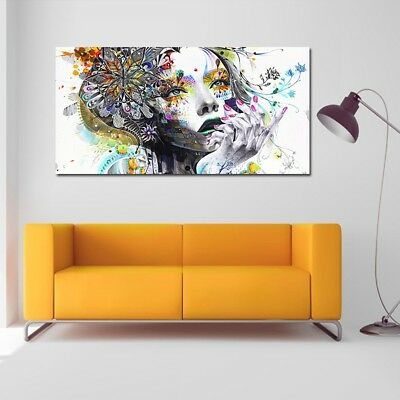 Large Abstract Girl Woman Flowers Colourful Canvas Art Print Wall Hangings Decor
