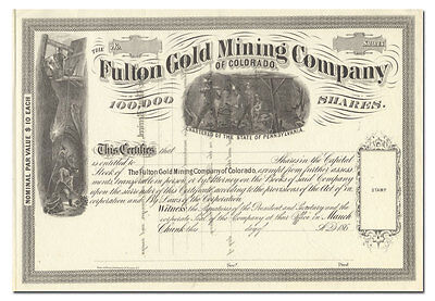 Fulton Gold Mining Company of Colorado Stock Certificate (1860's)
