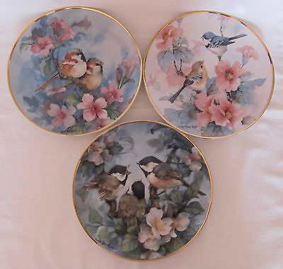 Franklin Mint Three Bird Plates Limited Edition Numbered COA