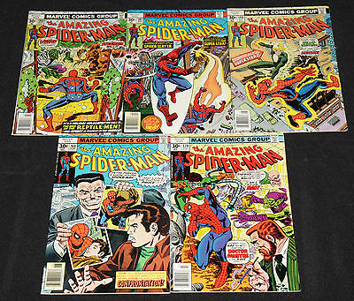 Marvel Bronze AMAZING SPIDER-MAN #166-170 - 5pc Mid Grade Comic Lot (6.0-8.0)