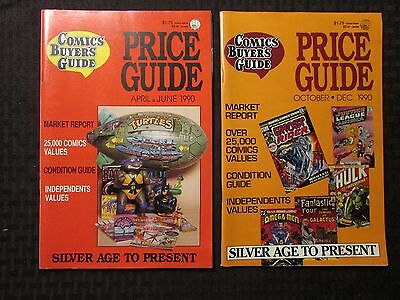 1990 Comic Buyer's Price Guide Magazine April/June & Oct/Dec FN/FN+ LOT of 2