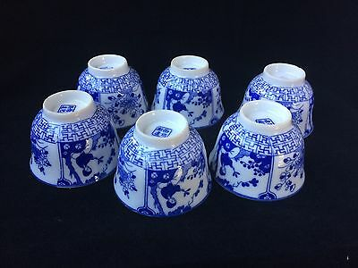Chinese Antique Blue & White Porcelain 6 Tea Cups beautiful decorated and marked
