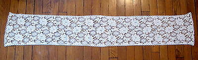 "ANTIQUE VINTAGE LACE TABLE RUNNER WHITE 8.5"" x 54"". PRETTY"