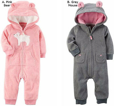 Carters Baby Girl Fleece Jumpsuit Coverall Hooded Warm 3 6 9 12 18 24 Month New