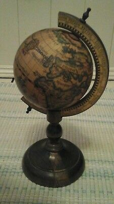 Vintage Wood Desk Top World  Globe Small Florentine