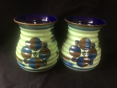 Beautiful Pair art deco  Ditmar Urbach  Czech Pottery vases . several marks