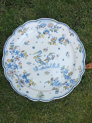 antique large chinese plate - wallplate . Bird scene. Marked back
