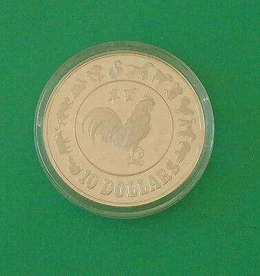 1981 Singapore Rooster $10 Silver Proof Coin with COA
