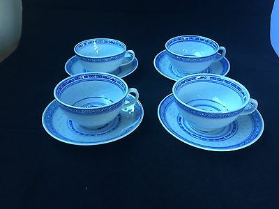 4 antique / vintage chinese porcelain cups and saucers . Marked