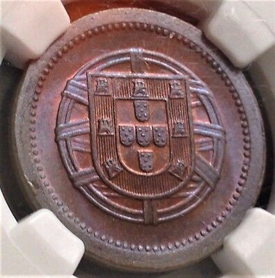 1921 Portugal 5 Centavos NGC MS65BN Stunning Tone Scratch-Free Holder CHN!
