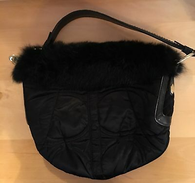 Coach Quilted Rabbit Fur SoHo Hobo Bag Ski Satchel Purse 3587 Leather Black  Auth 098a0a38f0f84
