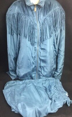 FUDA International fringed jacket And Pants XL  silk zip front Lined Retro