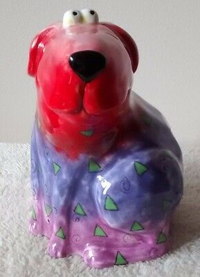 Floppy Dog Colorful Abstract Ceramic Coin Bank Triangle Swirl Design