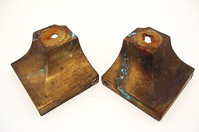 Pair of Brass Furniture Feet 3.25 inches Square Vintage Salvage Steampunk