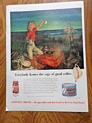 1951 Maxwell House Coffee Ad Twilight Picnic on the Beach 1951 Watchmakers Swiss