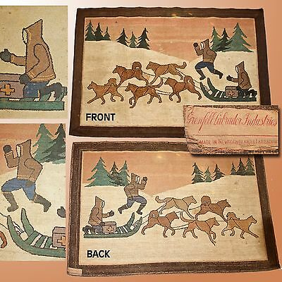 Early Grenfell Large Mat / Rug W/ Sled Dog Team &2 Men W/ First Generation Label