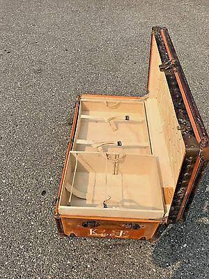 Louis Vuitton Trunk Steamer Wardrobe Hat Box Rare Red Cross Orange With Trays