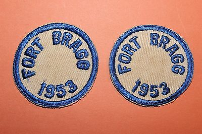 Vintage Us Army Post Patch, Fort Bragg Nc, 1953 Lot Of 2