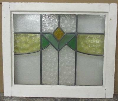 """OLD ENGLISH LEADED STAINED GLASS WINDOW Nice Abstract Geometric 21.75"""" x 18.5"""""""