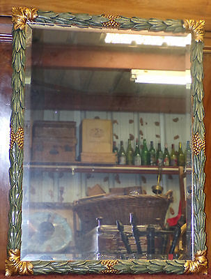 "Large 30"" X 39"" Fireplace Mirror Green Wooden Frame Golden Decor - Mantel Mirror"