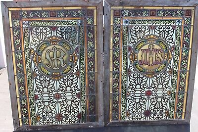 Vintage Antique IHS Catholic Christian Hand Painted Church Stained Glass Windows