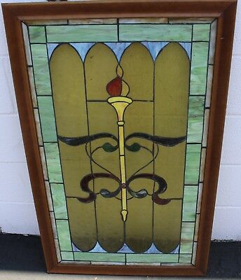 Vintage Antique Church Leaded Stained Glass Window Torch 40x24""