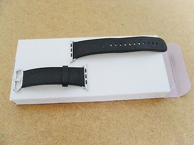 APPLE WATCH BAND 42mm BLACK LEATHER W/STAINLESS STEEL CLASSIC BUCKLE / SERIES 1