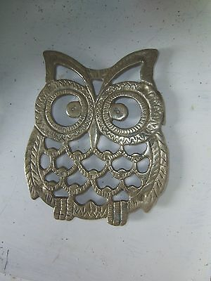 "Vintage Solid Brass Owl Shaped Trivet  4 3/4"" Tall , 4"" Wide"