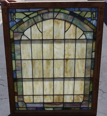 Vintage Antique Church Leaded Stained Glass Windows Multi-Colored Tiles 36x47""