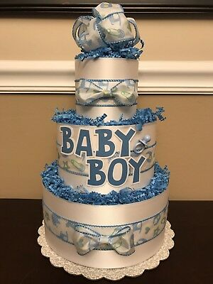 Diaper Cake Blue & White Baby Boy Pampers Baby Shower 3 Tier Centerpiece