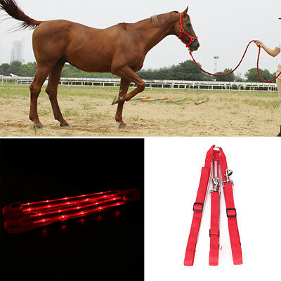 LED Horse Collar Breastplate Red Light Battery Operated Leash Strip Adjustable