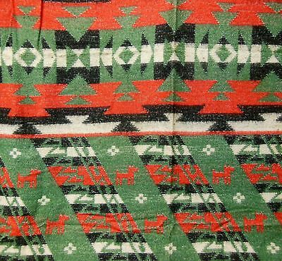 VTG 30s Beacon Style Pictorial Wolf Camp Native American Indian Blanket ~