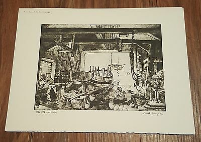The Old Boat Works by Lionel Barrymore, vintage Talio Chrome Print, signed