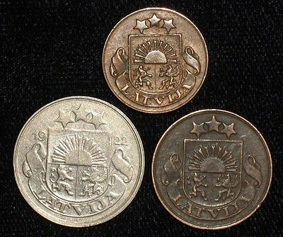 3 Coins from Latvia.  1922-1928.   No Reserve!