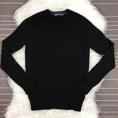 Vince Mens 100% Cashmere V Neck Sweater Size S Small Black Pullover