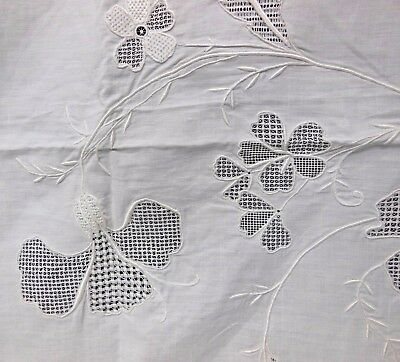 VTG Hand Embroidered Needle Lace White Linen Layover Sheet + 2 Pillow Shams-